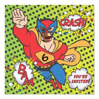 Superhero comic book birthday party photo card 13 cm x 13 cm square invitation card
