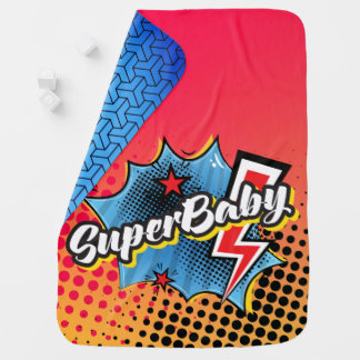 Superhero comic book SuperBABY blanket gift BLUE Baby Blanket