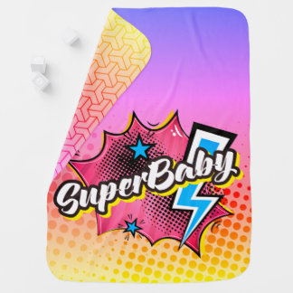 Superhero comic book SuperBABY blanket gift PINK Receiving Blankets