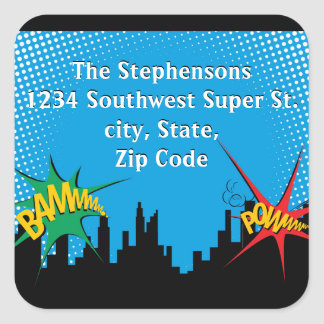Superhero Comic Boy's Birthday Party Address Label Square Sticker