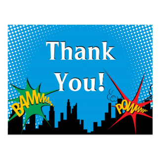 Superhero Comic Boy's Birthday Party Thank You Postcard