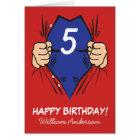 Superhero Comic Red Blue Kids Birthday Card