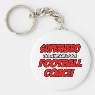 Superhero...Football Coach Basic Round Button Key Ring