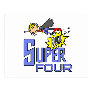 Superhero Girl 4th Birthday Tshirts and Gifts Postcard