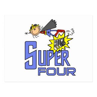 Superhero Girl 4th Birthday Tshirts and Gifts Postcards