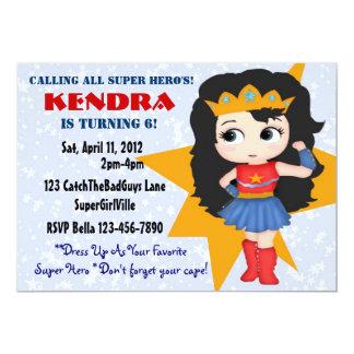 "Superhero Girl Invitation 5"" X 7"" Invitation Card"
