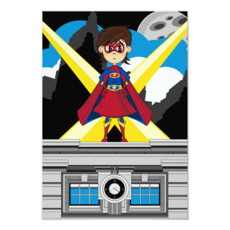 Superhero Girl on Rooftop 3.5x5 Paper Invitation Card