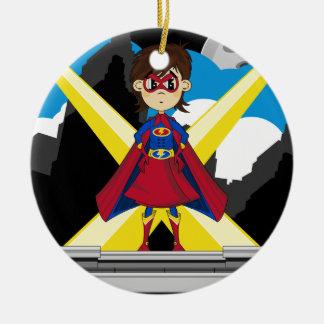 Superhero Girl on Rooftop Round Ceramic Decoration