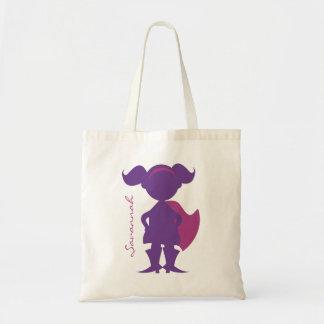 Superhero Girl Silhouette Personalized Purple Budget Tote Bag