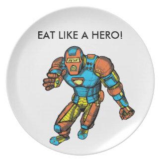 SUPERHERO IN ROBOT ARMOR DINNER PLATES