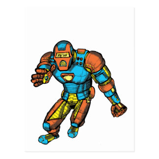SUPERHERO IN ROBOT ARMOR POSTCARD