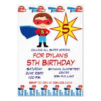 Superhero Kids Birthday Party Invitations for Boys
