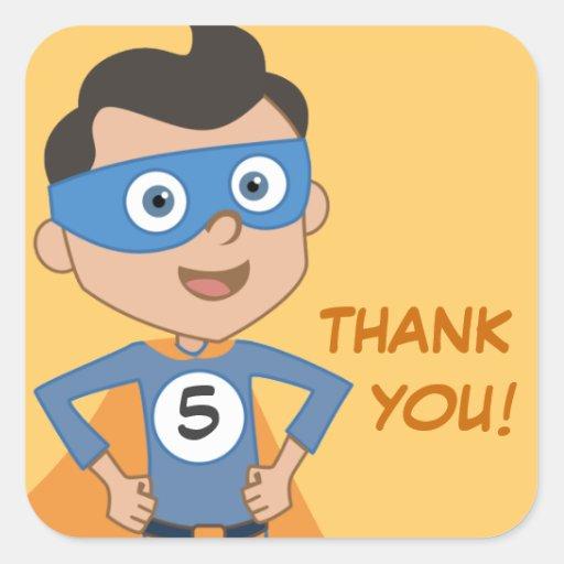 Superhero Kids Birthday Party Thank You Stickers