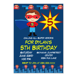 Superhero Kids Boys Birthday Party Invitation Blue