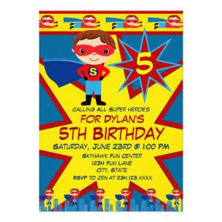 Superhero Kids Boys Birthday Party Invitation Blue