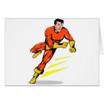 superhero male running punching cartoon