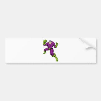 superhero male running punching cartoon bumper stickers