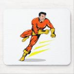 superhero male running punching cartoon mousemats