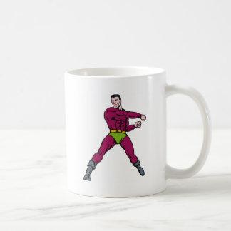 superhero male running punching cartoon mugs