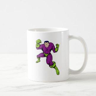 superhero male running punching cartoon coffee mugs