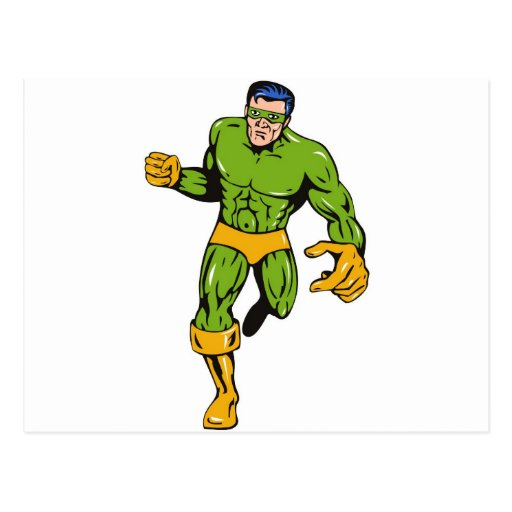 superhero male running punching cartoon postcard
