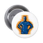 superhero male standing front retro pinback button