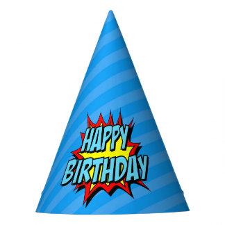 Superhero Party Hat - Blue Stripe Happy Birthday