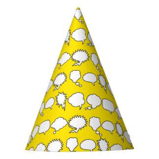 Superhero Party Hat - Speech Bubbles Yellow White