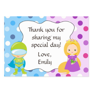Superhero Princess Gift Favor Tag Label Pack Of Chubby Business Cards