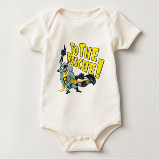 Superhero Racoon To The Rescue Baby Bodysuit