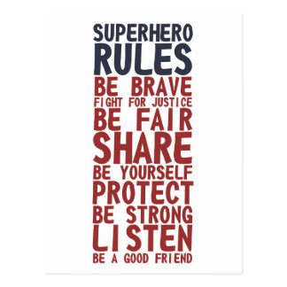 Superhero Rules Text Design Phrase Postcard