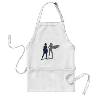 Superhero Shadow Businesswoman Standard Apron