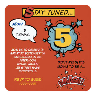 Superhero Smash! 13 Cm X 13 Cm Square Invitation Card