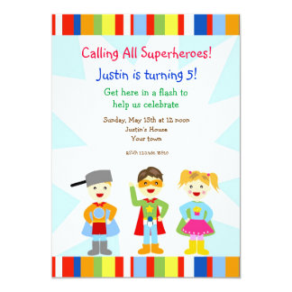 "Superhero Super Heroes Birthday Party Invitations 5"" X 7"" Invitation Card"