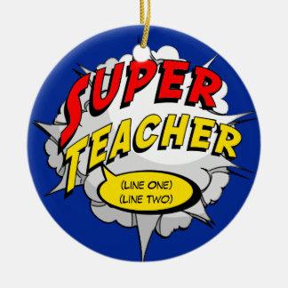 Superhero Teacher Custom Round Ceramic Decoration