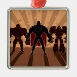 Superhero Team Silhouettes Christmas Ornament