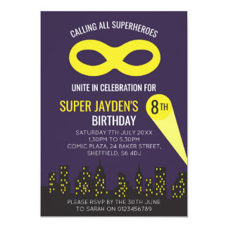 Superhero themed birthday party invitation