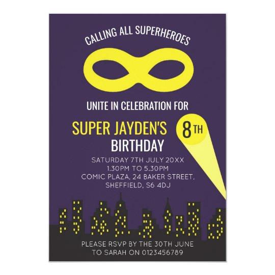 Superhero themed birthday party invitation