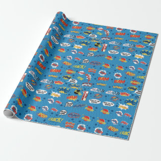 Superhero to paper, Action Words, Comic Sound Wrapping Paper