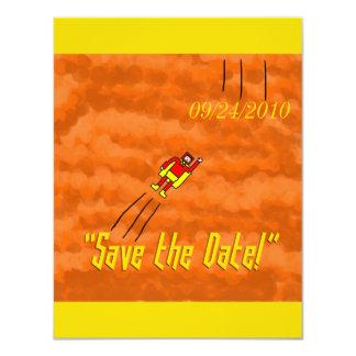Superhero Wedding Save the Date Card - Orange Invite