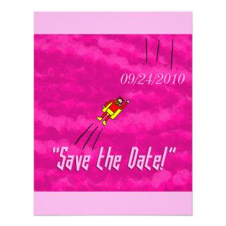 Superhero Wedding Save the Date Card - Pink Custom Invites
