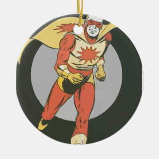 Superhero with Blast Symbol running Christmas Ornament