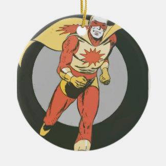 Superhero with Blast Symbol running Round Ceramic Decoration