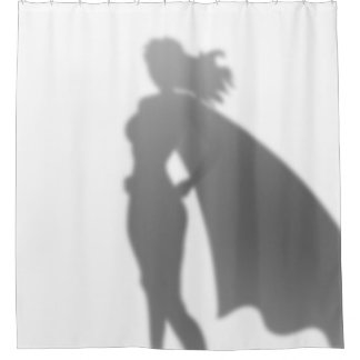 Superhero Woman Behind the Scenes Funny Silhouette Shower Curtain