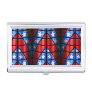 Superheroes - Blue, Red, White Stars Business Card Holder