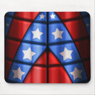 Superheroes - Blue, Red, White Stars Mouse Pad
