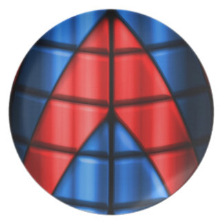 Superheroes - Red and Blue Plate
