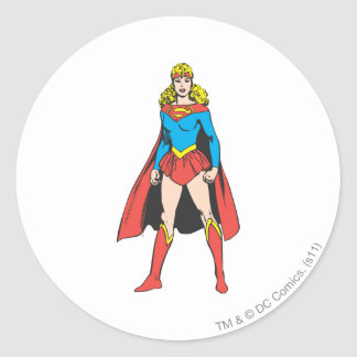 Superigirl Stands Classic Round Sticker