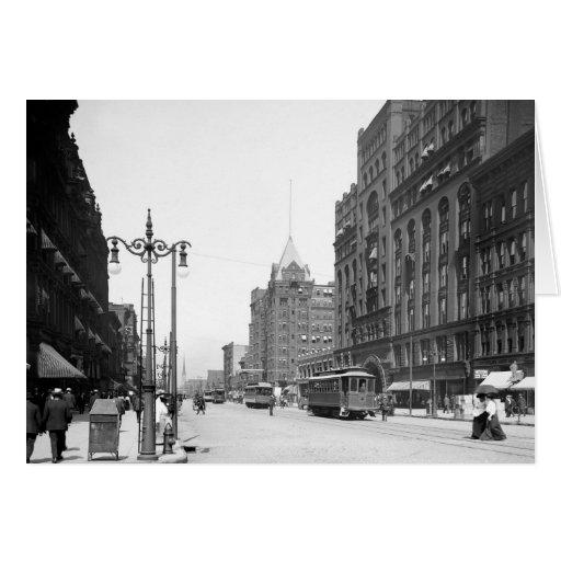 Superior Avenue, Cleveland: 1905 Greeting Card
