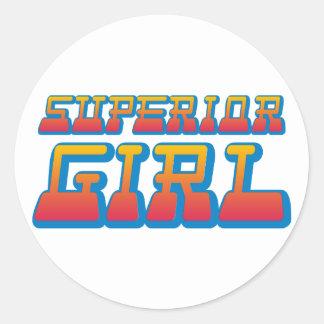 superior girl round sticker